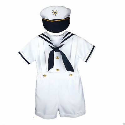 Boys White sailor outfit matching hat full set fleet week fancy formal baby (Male Sailor Outfit)