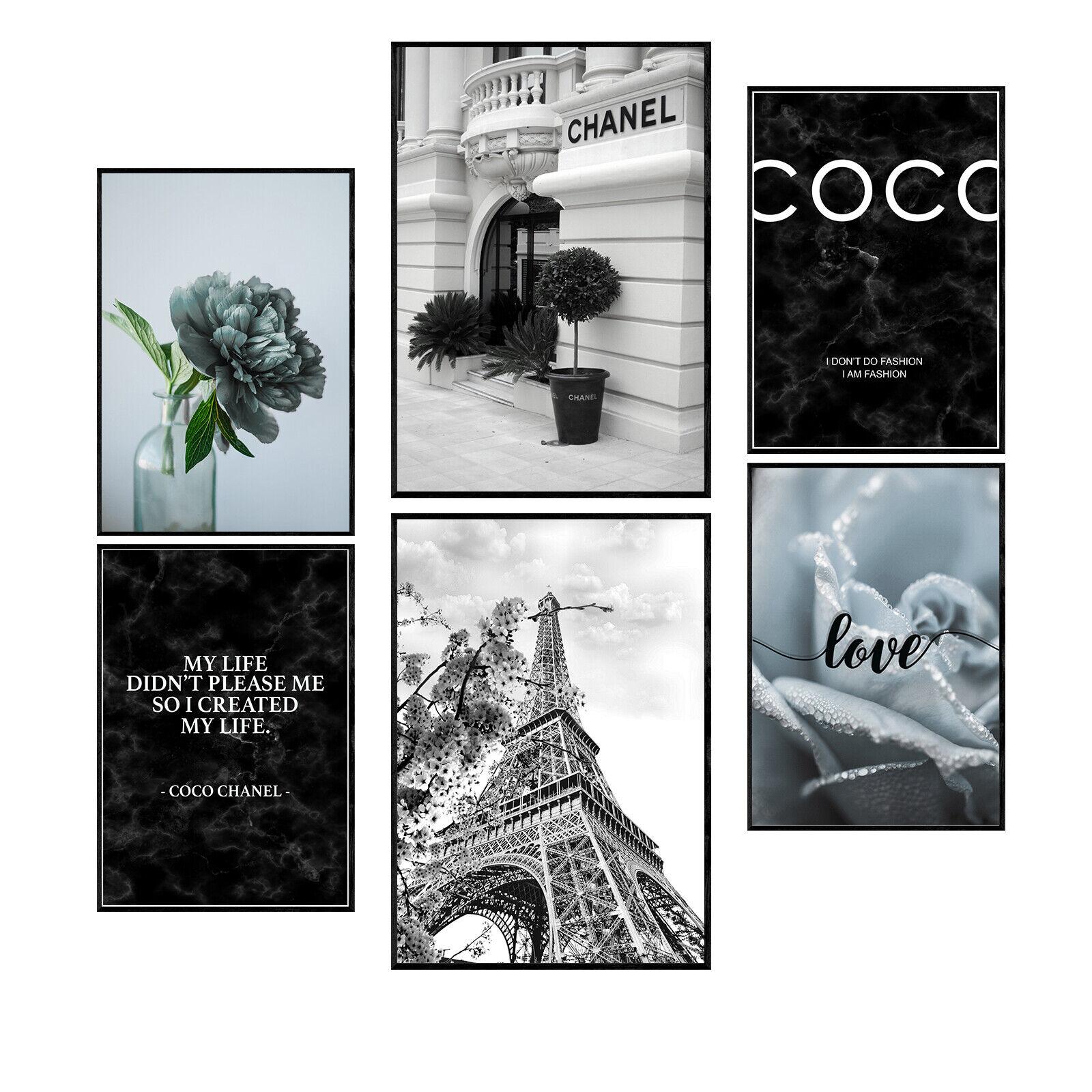 Premium Bilder (6er Set) | Coco Paris Chanel Poster Set | Wohnzimmer Bilder Set