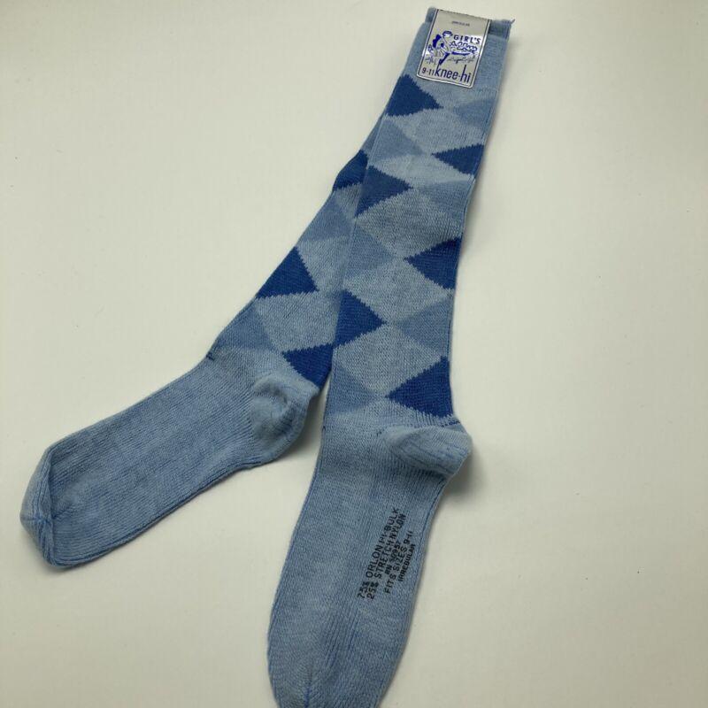 Vintage 1970s Orlon Knee Socks Blue Argyle Sz 9-11