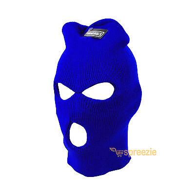 Royal Blue Ski Mask Beanie 3 Hole Knitted Cap Hat Warm Face