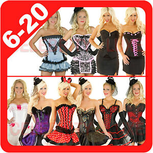 New-Ladies-Burlesque-Corset-Rockabilly-Moulin-Rouge-Fancy-Dress-Costume-Overbust