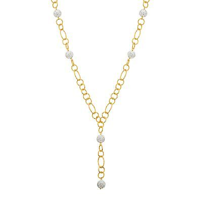 Crystaluxe Beaded Lariat Necklace w White Swarovski Crystals, 18K Gold on Bronze