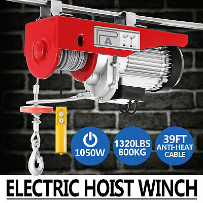 1320 Lb Electric Wire Hoist Winch Hoist Crane Lift Transmission With Remote 110v