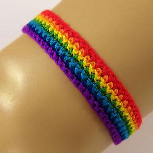 Rainbow Friendship Bracelet Wristband lgbt pride flag mens womens gift UK SELLER