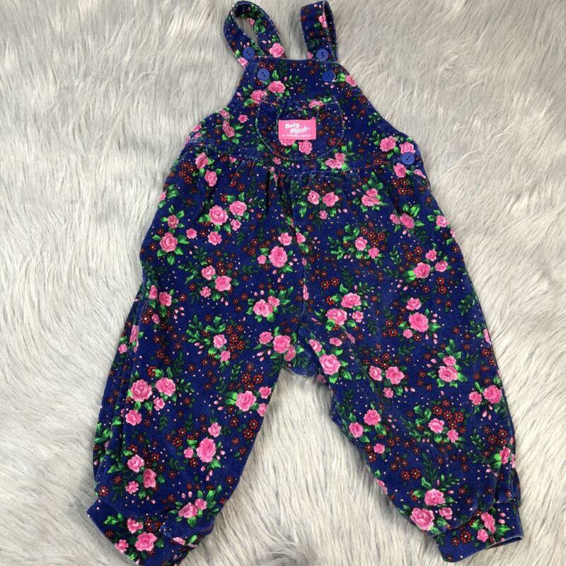 Vintage Oshkosh Bgosh Baby Girls Blue Pink Red Floral Corduroy Overalls