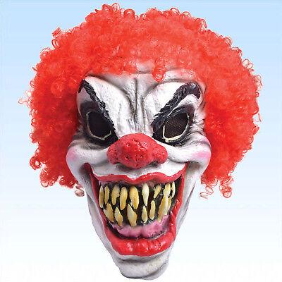 Maske Horror Clown mit roten Haaren Clownsmaske Vollmaske Clownmaske Fasching (Horror Clown Maske)
