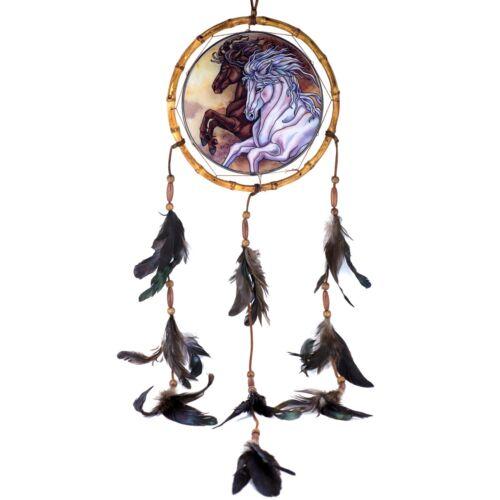 "Horse Dreamcatcher Suncatcher Hand Painted Glass AMIA Studios 7.75"" x 32"""
