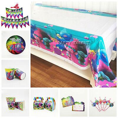 Trolls Children Kids Theme Birthday Party Supplies Tableware & Serveware Range - Party Serveware Supplies