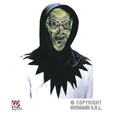 Horror-Gesicht grün Kapuzen Maske Halloween Karneval (Grünes Gesicht Maske Halloween)