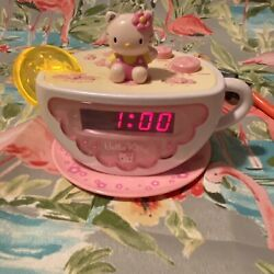 Hello Kitty Tea Cup Digital Alarm Clock Radio with Night Light Model HK155