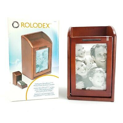 Rolodex Wood Photo Picture Frame Business Card File W Flaw 300 2 14 X 4 Card