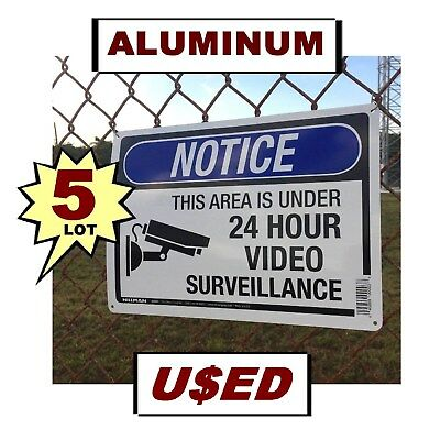 5 Used Warning Home Security Cameras Are In Use 10x14 Aluminum Metal Yard Sign