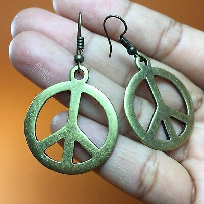 Vintage Peace Sign Earrings Hippie Boho Antique Brass Bronze Gold Tone Dangle Antique Gold Peace Sign