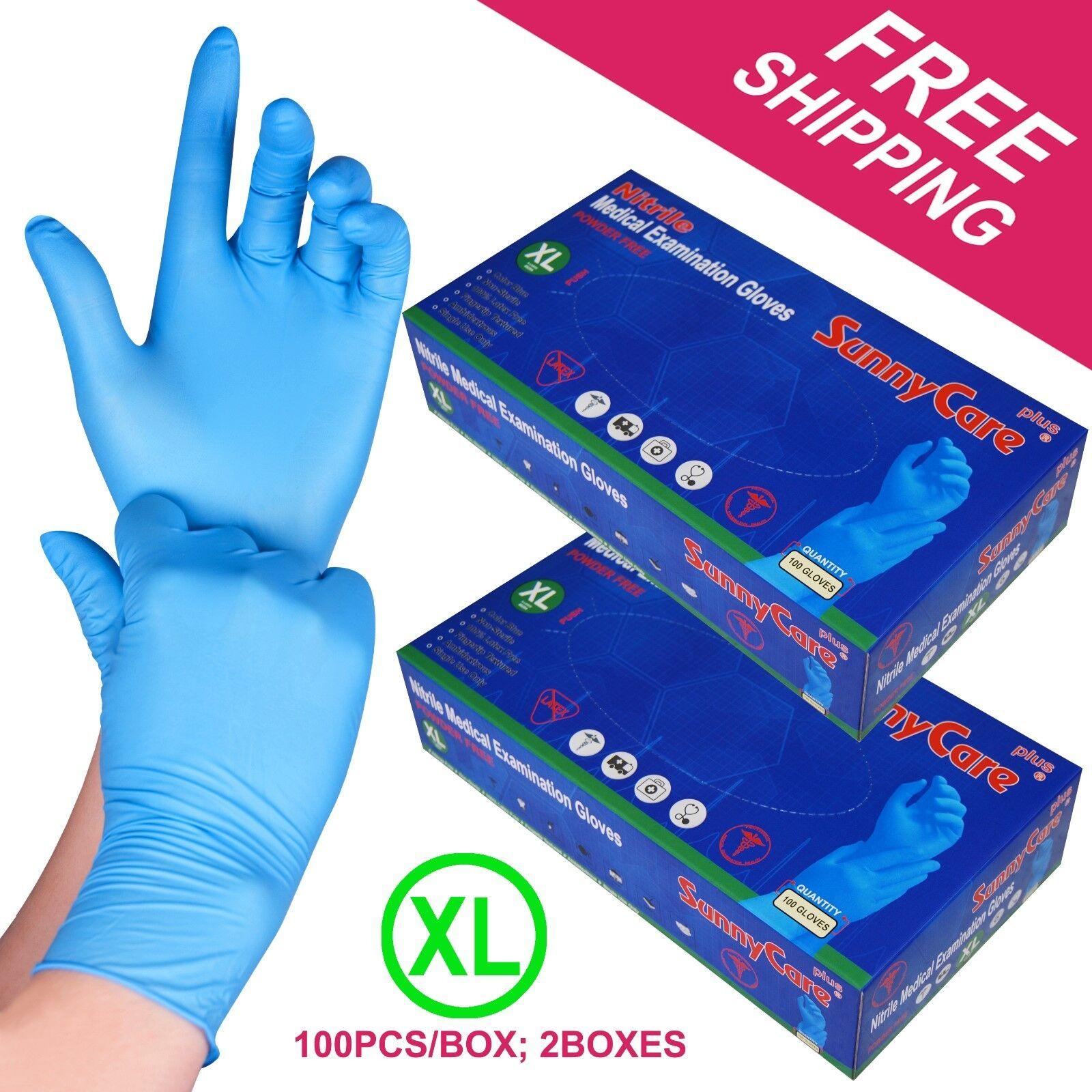 200 /2boxes Blue Nitrile Medical Exam Gloves Powder Free   X