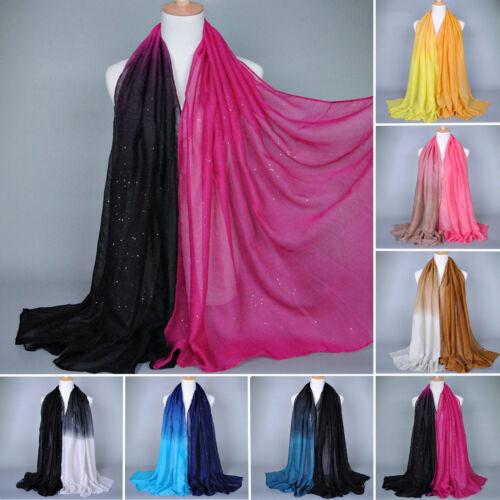 Damen Ombre Schal Schatten Pashmina Hijab Schal Voile Stola Lang Halstuch Winter