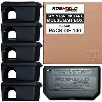 Roshield Mouse Black Bait Boxes for Rodenticide Block & Pasta (Trade Pack)