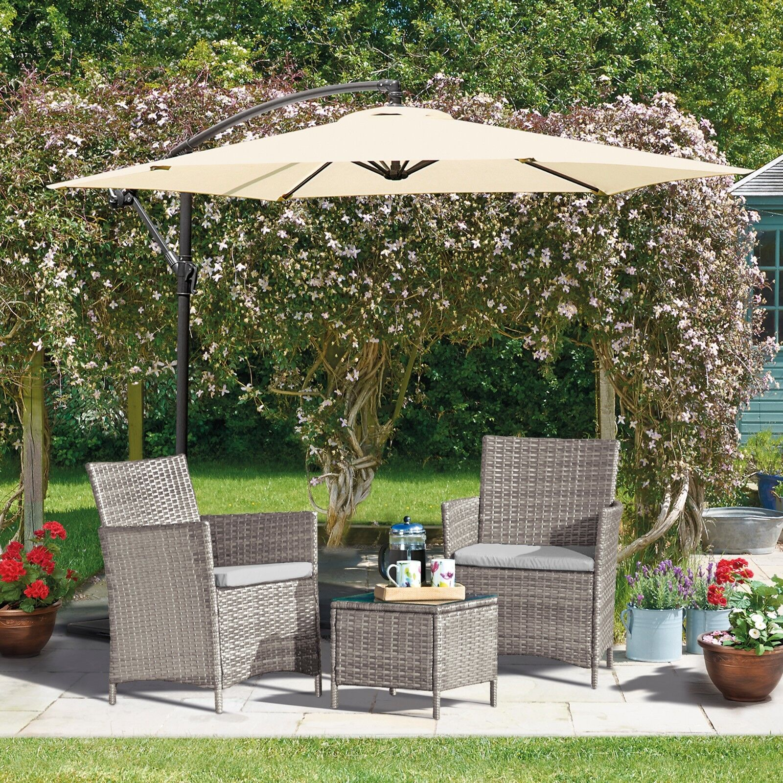 Garden Furniture - Rattan Garden Furniture Outdoor Patio 3pc Bistro Set 2 Chairs & Glass Table NEW