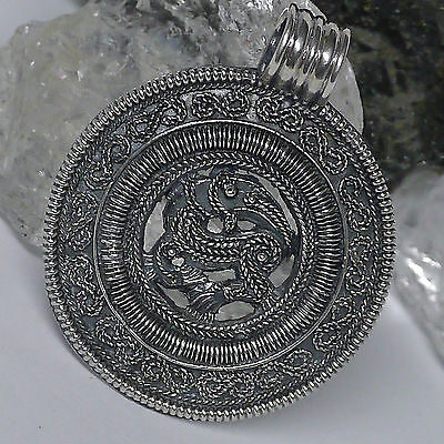 sehr edel groß Wikinger Drachen Amulett 925 Silber Viking Dragon Drache Anhänger
