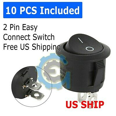 10pcs Round Rocker Switch Onoff Toggle Round Button Boat Car Auto Switch 12v Us