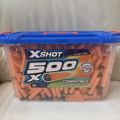 ZURU X-SHOT 500 SOFT FOAM DARTS NERF COMPATIBLE GUN BLASTER ORANGE REFILL BOX