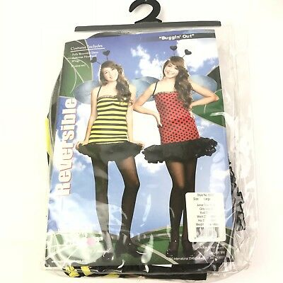 NEW Bumble Bee Lady Bug Costume Halloween Reversible Dreamgirl Size Large