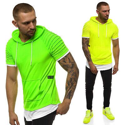 T-Shirt Sport Fitness Kapuze Training Neon Unifarben Slim OZONEE A/1186X Herren