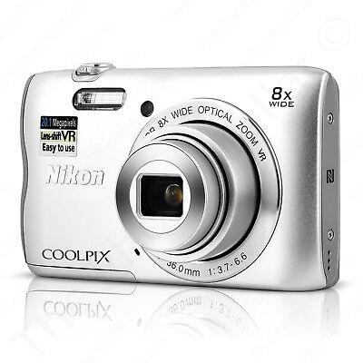 Nikon Coolpix A300 20.1MP 8x Optical Zoom NIKKOR WiFi Silver Digital Camera