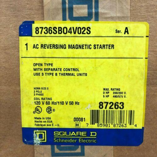 Square D 8736SBO4V02S Reversing Magnetic Motor Starter NEMA 0 (8736SBO4S)  NEW