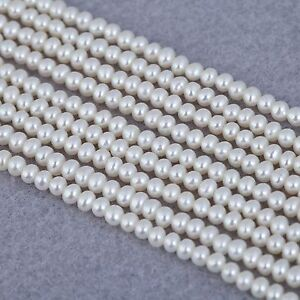 3mm Ivory White Near Round Seed Small Tiny Freshwater Pearls Beads A for Craft