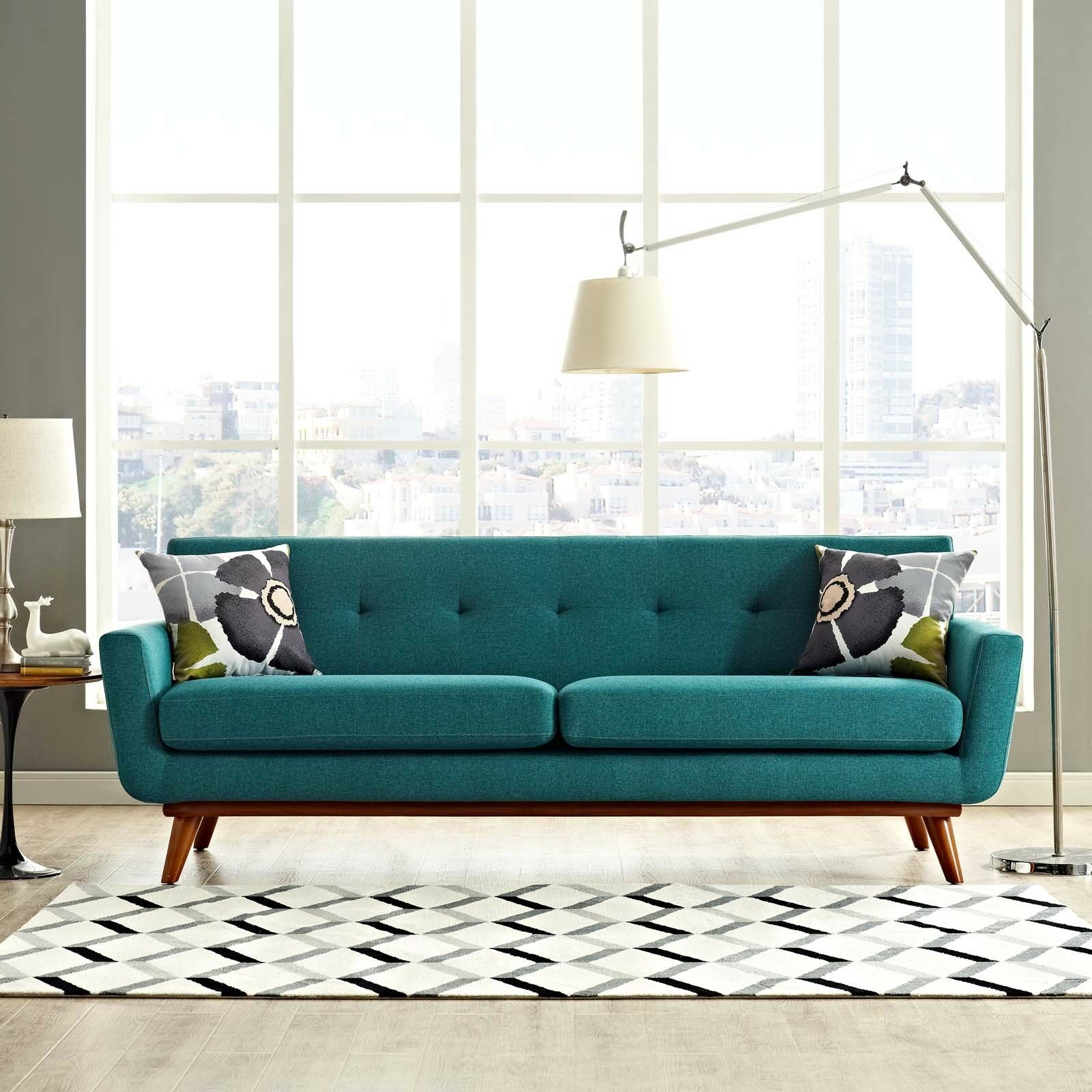 Details About Mid Century Modern Upholstered Fabric Living Room Sofa In Teal
