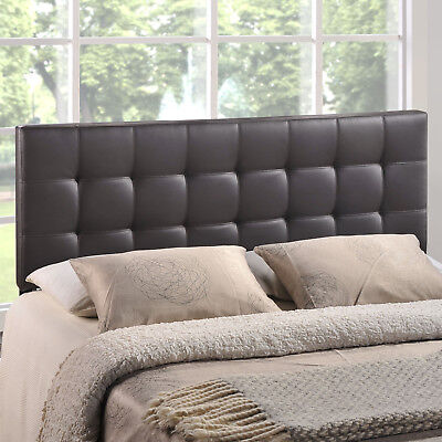 Tufted Upholstered Faux Leather Square King Size Headboard in Brown King Size Leather Headboard