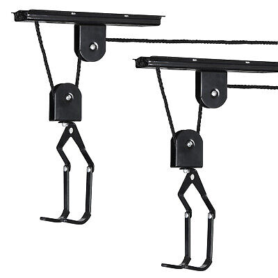 Space Saving Lift Bike Hoist Bicycle Storage Pulley Hanger System Ceiling Mount