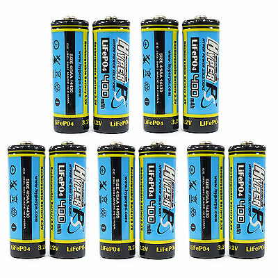 10 x 14430 4/5AA 400mAh 3.2V Volt LiFePO4 Rechargeable Battery HyperPS US Stock