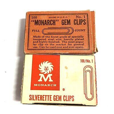 Lot 2 Vintage Monarch Silverette Gem Paper Clips Collectible Or Movie Prop