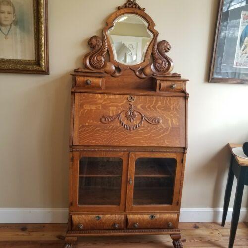 Antique Tiger Oak Desk - Secretary -  Bookcase - Carved Griffins Lions Paws