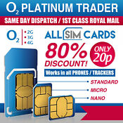 2 x New & Sealed - O2 Sim Card - PAYG - Only 20p - Classic O2 Pay As You Go  0
