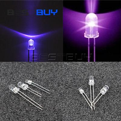 Round Led Lamp Ultra Violet Uv 3mm 5mm Purple 365-400nm Clear Purple Ligth Bbc