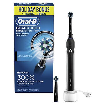 Escova de dentes elétrica Oral-B 1000 CrossAction, preta, fornecida pela Braun, 2