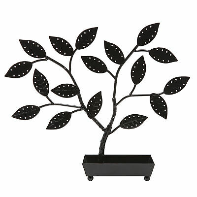Jewelry Tree Earring Necklace Hanger Holder With Ring Dish Tray Black