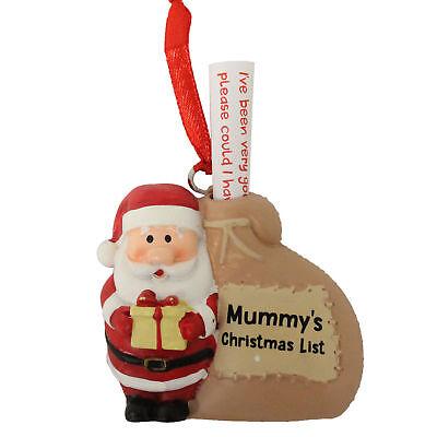 Christmas Hanging Tree Decoration - Santa with Sack - Mummy's Christmas List