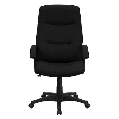 High Back Black Fabric Office Desk Chair W Padded Arms Adjustable Seat Height