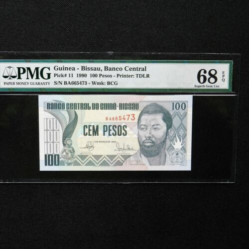 "1990 Guinea-Bissau 100 Pesos, Pick # 11, PMG 68 EPQ, ""Domingo Ramos"""