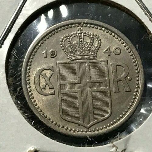 1940 ICELAND 10 AURAR BRILLIANT UNCIRCULATED COIN