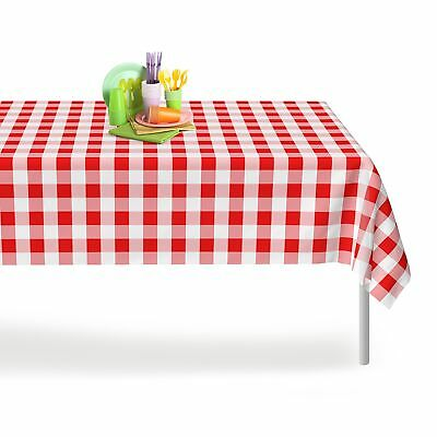 Red Gingham Checkered 12 Pack Premium Disposable Plastic Picnic Tablecloth 54...