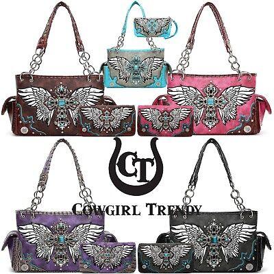 Western Style Cross Studded Wings Concealed Carry Purse Bag Women Handbag - Western Style Purse