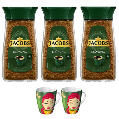 JACOBS Löskaffee Krönung 3x200g Gläser löslicher Kaffee + 2 Ritzenhoff Becher