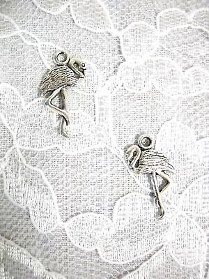 NEW SOUTH FLORIDA FLAMINGO BIRD ALLOY SILVER DANGLING CHARM PIERCED EARRINGS