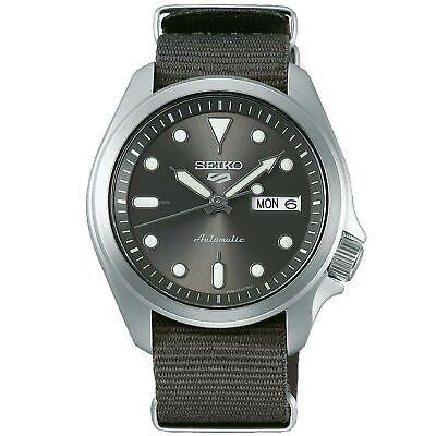 Seiko 5 Sports Silver Dial Grey Nylon Strap Men's Watch SRPE61K1 RRP £230