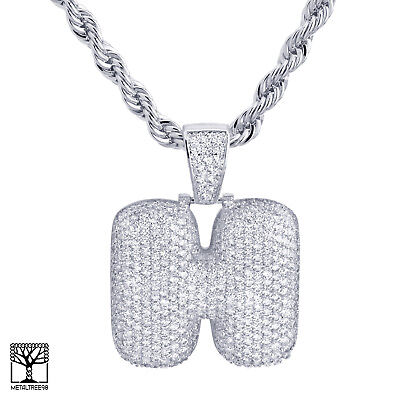 H Initial Silver Plated Custom Bubble Letter Iced CZ Pendant 24