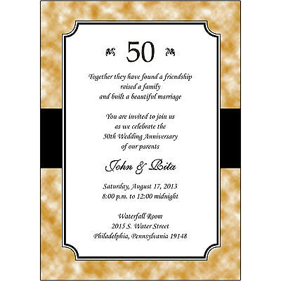 25 Personalized 50th Golden Wedding Anniversary Invitations  - AP020 - Gold Golden Wedding Anniversary Invitations